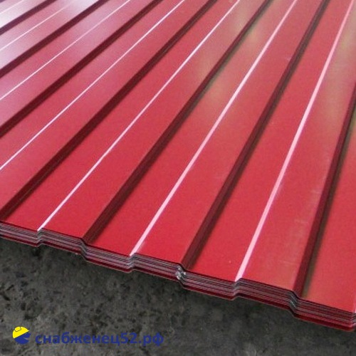 Профнастил С-8 0,35мм (2м) (шир.1.2м), RAL 3005 красный, Grand Line