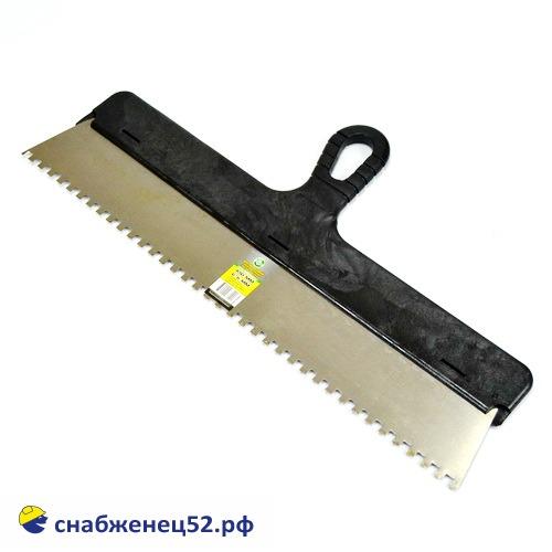 Шпатель зубчатый 450мм, зуб 6*6мм (нержавеющий)