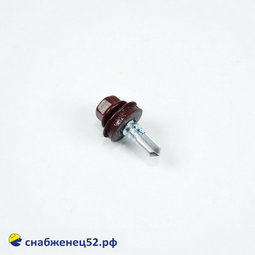Саморез кровельный RAL 3005 красный (металл) 5,5*19