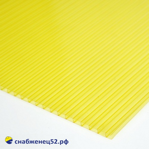 Поликарбонат  4мм жёлтый (ш.2,1м), п.м.