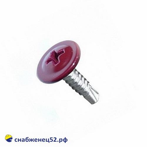 Саморез мет-мет прессшайба (RAL 3005 красный) 4,2*13 сверло