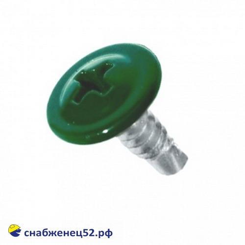 Саморез мет-мет прессшайба (RAL 6005 зелёный) 4,2*13 сверло