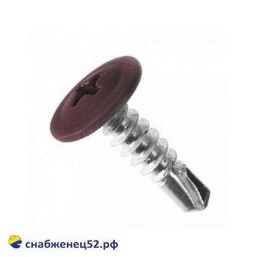 Саморез мет-мет прессшайба (RAL 8017 коричневый) 4,2*13 сверло